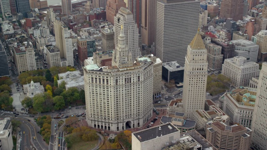 6K stock footage aerial video orbit Manhattan Municipal Building in Autumn, Lower Manhattan, New York City Aerial Stock Footage | AX120_150