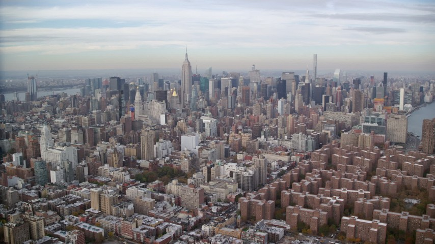 6K stock footage aerial video approach Midtown from East Village in Autumn, New York City Aerial Stock Footage | AX120_154