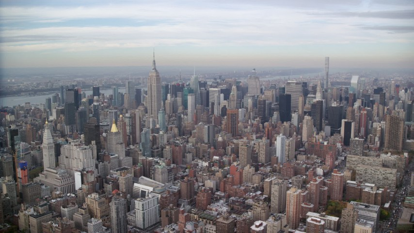 6K stock footage aerial video of a wide view of skyscrapers while approaching Midtown Manhattan, New York City Aerial Stock Footage | AX120_156
