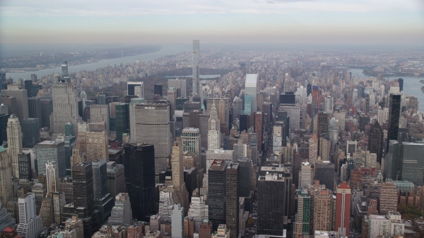 6K stock footage aerial video of Chrysler Building and Midtown High-Rises, New York City Aerial Stock Footage | AX120_158