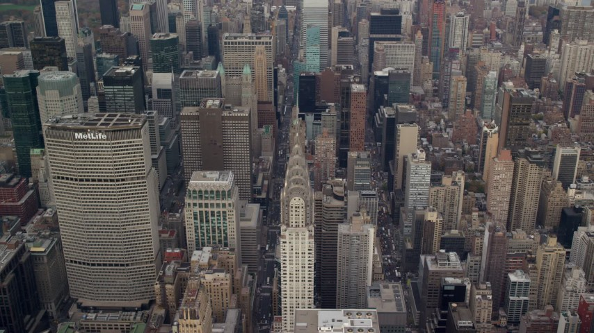 6K stock footage aerial video of Chrysler Building and Midtown High-Rises, New York City Aerial Stock Footage | AX120_158E