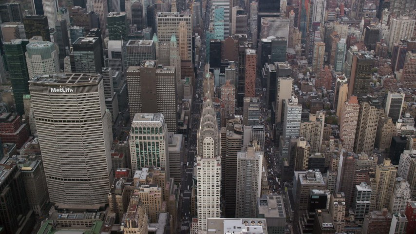 6K stock footage aerial video of an approach to the Chrysler Building in Midtown, New York City Aerial Stock Footage | AX120_160