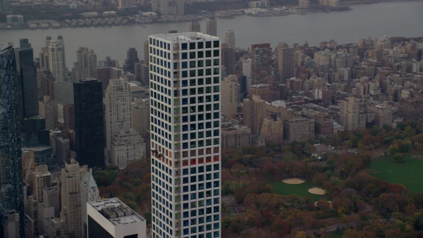 6K stock footage aerial video orbit top of 432 Park Avenue in Midtown in Autumn, New York City Aerial Stock Footage   AX120_162E