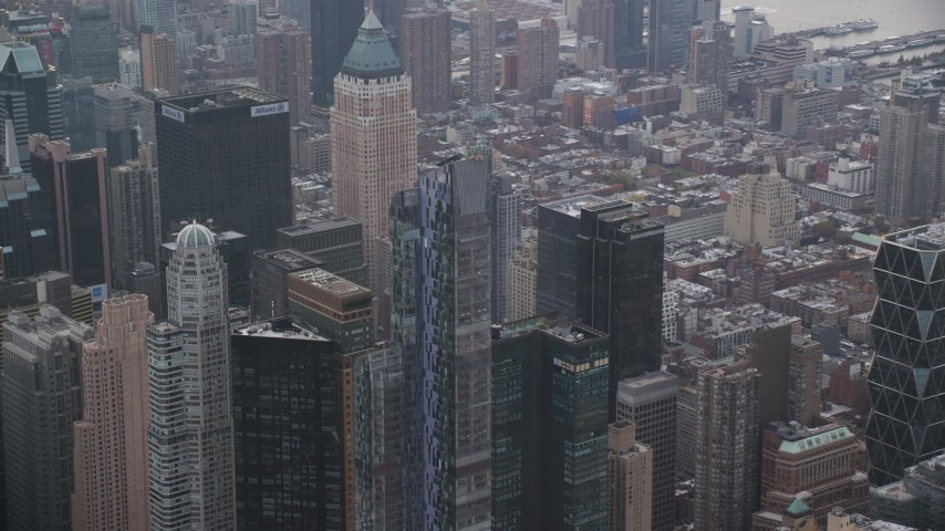 6K stock footage aerial video orbit One57 skyscraper in Midtown Manhattan, New York City Aerial Stock Footage | AX120_167