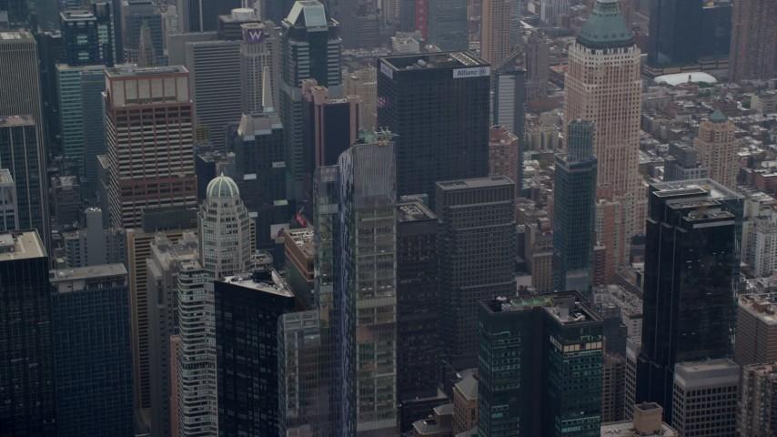 6K stock footage aerial video orbit One57 skyscraper in Midtown Manhattan, New York City Aerial Stock Footage   AX120_167E
