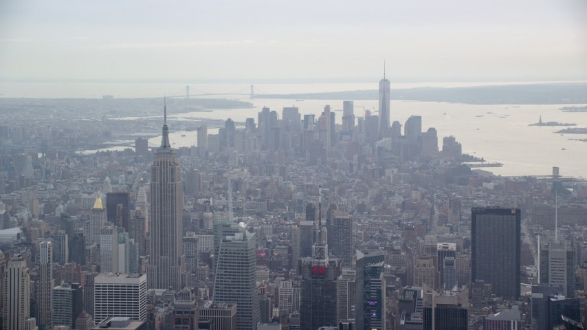 6K aerial video of the Empire State Building and Lower Manhattan, New York City Aerial Stock Footage | AX120_169