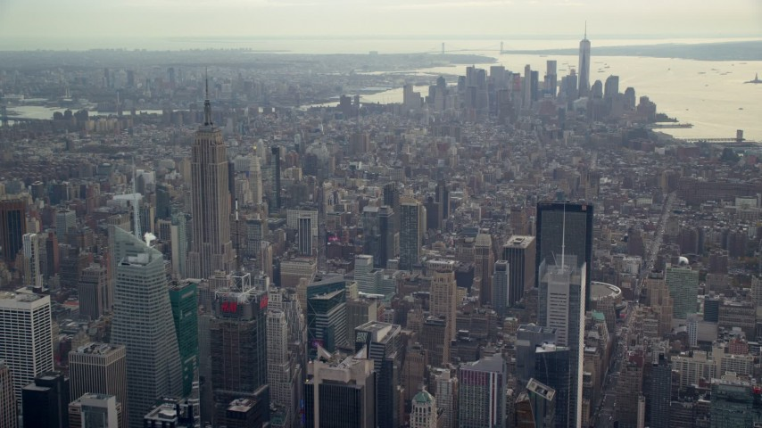 6K stock footage aerial video of Lower Manhattan high-rises and Empire State Building, New York City Aerial Stock Footage | AX120_171