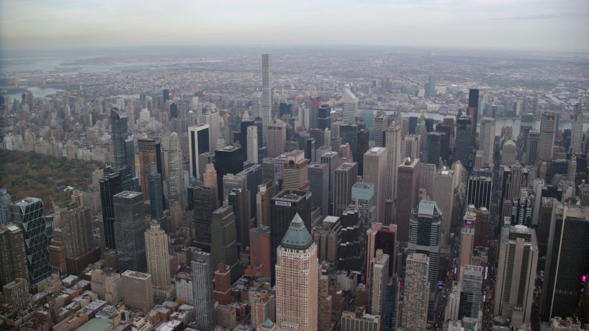 6K stock footage aerial video of a wide orbit Midtown skyscrapers and high-rises in New York City Aerial Stock Footage   AX120_174