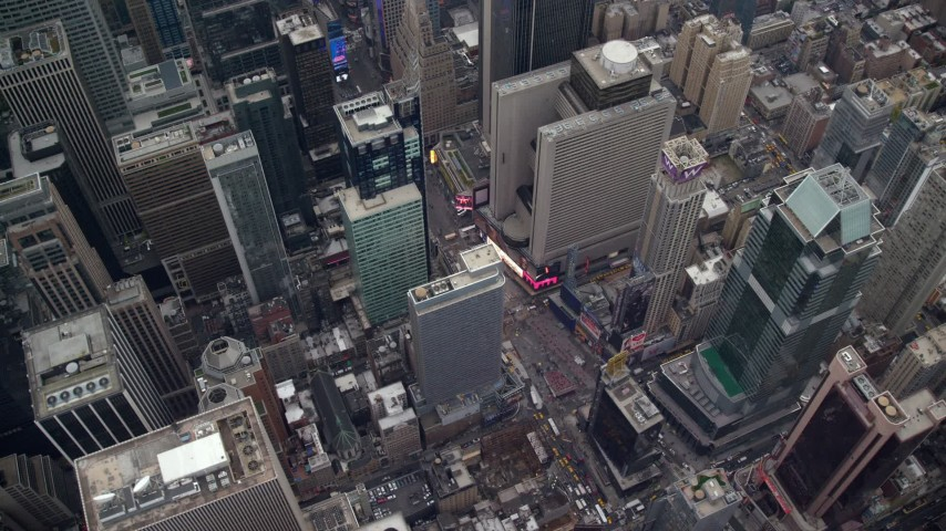 6K stock footage aerial video orbit Times Square and Broadway in Midtown, New York City Aerial Stock Footage | AX120_176E