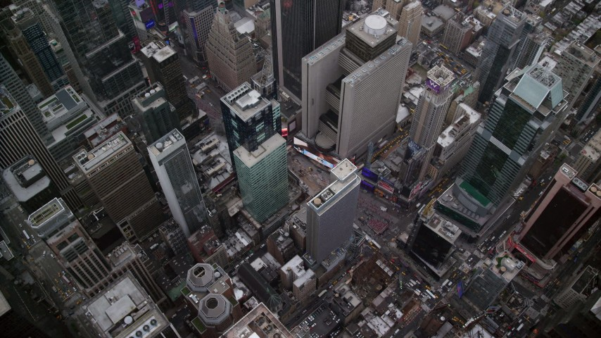 6K stock footage aerial video of a bird's eye orbit of Times Square in Midtown, New York City Aerial Stock Footage | AX120_177