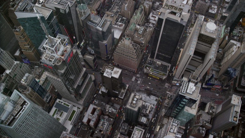 6K stock footage aerial video of a bird's eye of light traffic on Broadway in Times Square, Midtown Manhattan, New York City Aerial Stock Footage | AX120_178