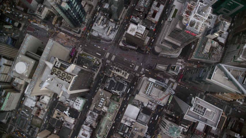 6K stock footage aerial video of a bird's eye orbit of Times Square in Midtown, New York City Aerial Stock Footage AX120_179 | Axiom Images