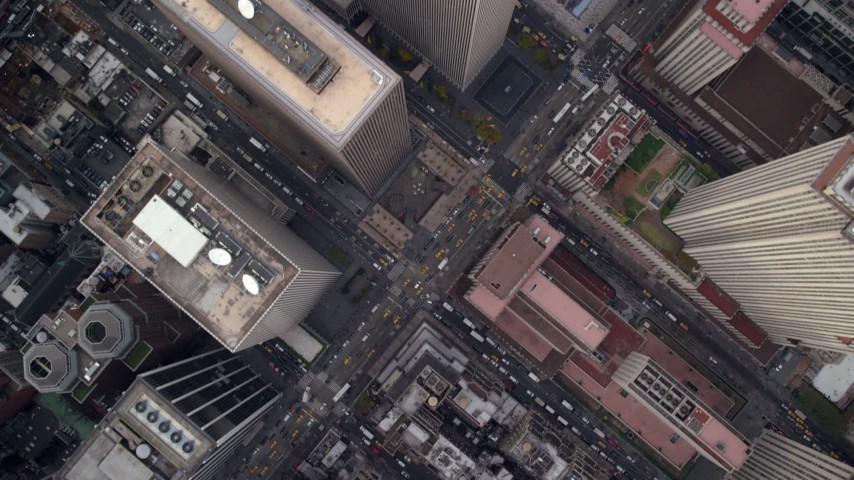 6K stock footage aerial video of a bird's eye of city streets in Midtown, New York City Aerial Stock Footage | AX120_192