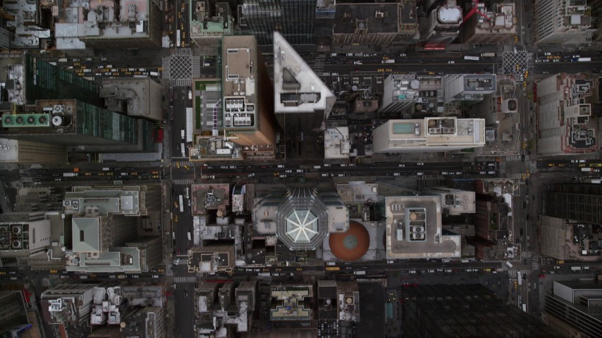 Bird's Eye of Skyscrapers and City Streets in Midtown, New York City Aerial Stock Footage AX120_193