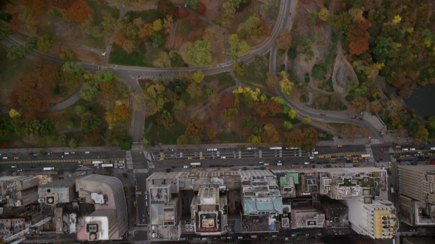 6K stock footage aerial video of a bird's eye of skyscrapers and city streets, reveal Central Park, New York City Aerial Stock Footage | AX120_194