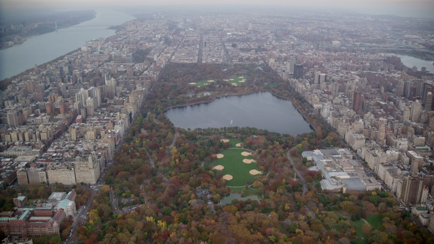 6K stock footage aerial video approach the reservoir and The Met in Central Park, New York City Aerial Stock Footage | AX120_195