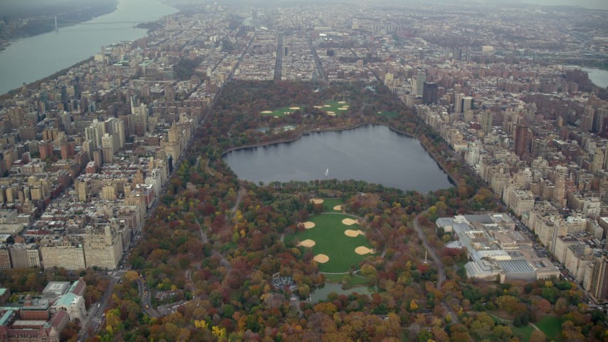 6K stock footage aerial video approach the reservoir and The Met in Central Park, New York City Aerial Stock Footage | AX120_195E