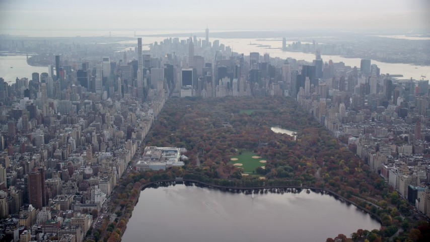 6K stock footage aerial video of The Met, Central Park and Midtown skyscrapers in New York City Aerial Stock Footage | AX120_202