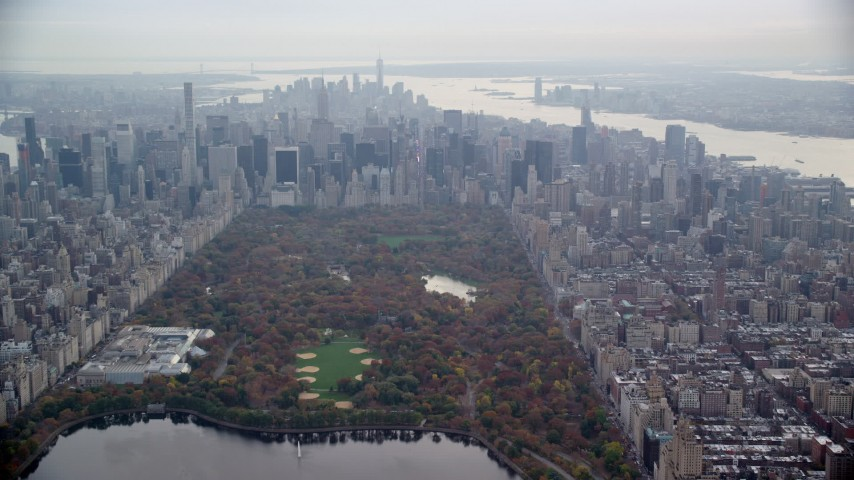 6K stock footage aerial video of Midtown skyscrapers seen from Central Park, New York City Aerial Stock Footage | AX120_204