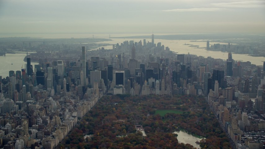 6K stock footage aerial video of Midtown high-rises seen from Central Park, New York City Aerial Stock Footage | AX120_205E