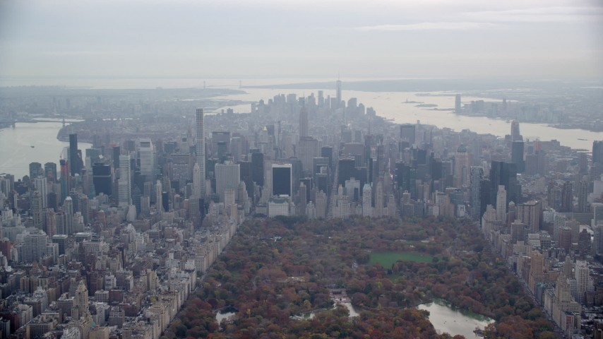 Midtown Manhattan Skyscrapers seen from Central Park, New York City Aerial Stock Footage | AX120_206