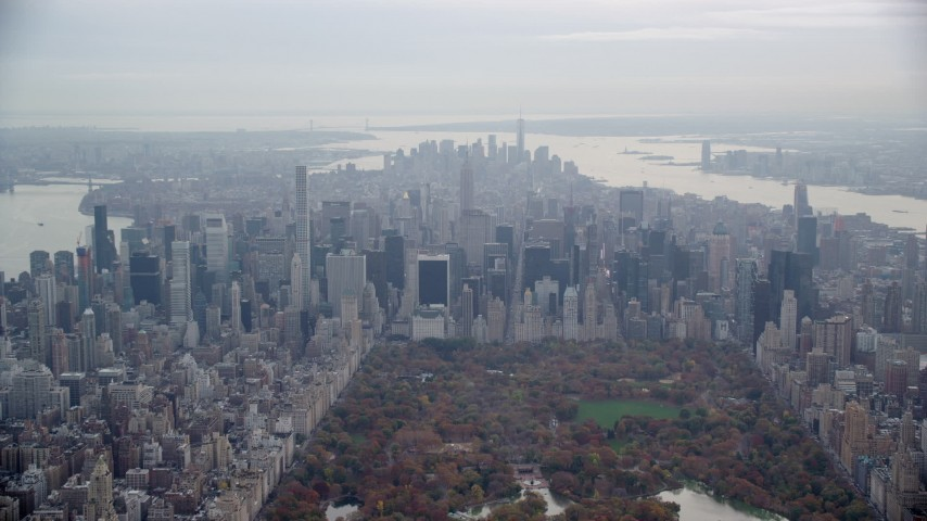 6K stock footage aerial video of Midtown Manhattan high-rises in Autumn, New York City Aerial Stock Footage | AX120_207