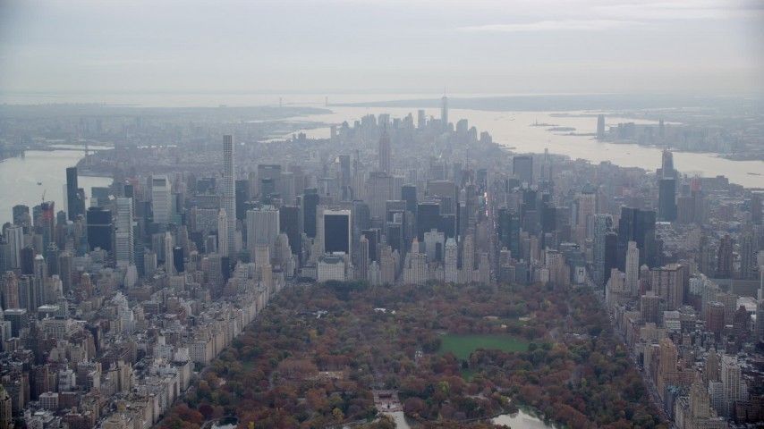 6K stock footage aerial video of skyscrapers in Midtown Manhattan in Autumn, New York City Aerial Stock Footage   AX120_208