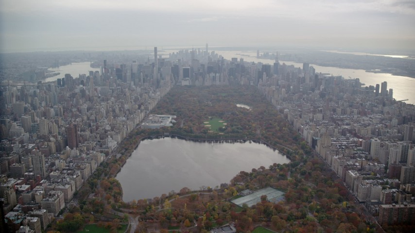 6K stock footage aerial video fly over Central Park toward Midtown in Autumn, New York City Aerial Stock Footage | AX120_210