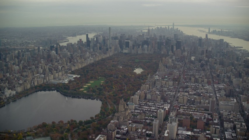 6K stock footage aerial video approach Central Park and Midtown in Autumn, New York City Aerial Stock Footage | AX120_216E