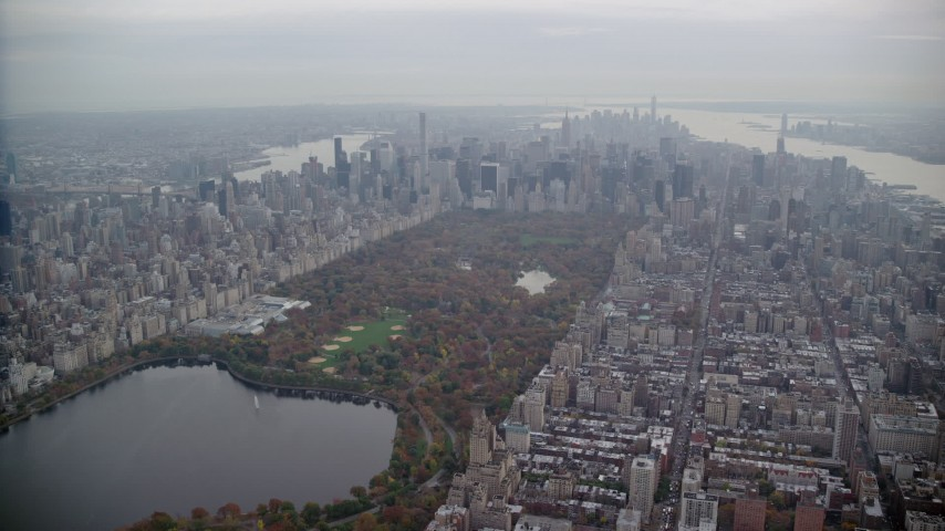 6K stock footage aerial video approach Central Park and Midtown in Autumn, New York City Aerial Stock Footage | AX120_217