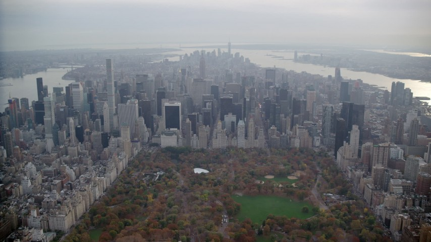 6K stock footage aerial video of Midtown Manhattan skyscrapers in Autumn, New York City Aerial Stock Footage | AX120_222