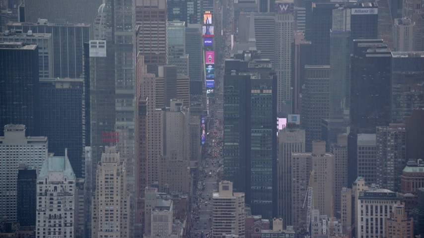 Heavy Traffic by Times Square in Midtown, New York City Aerial Stock Footage | AX120_223