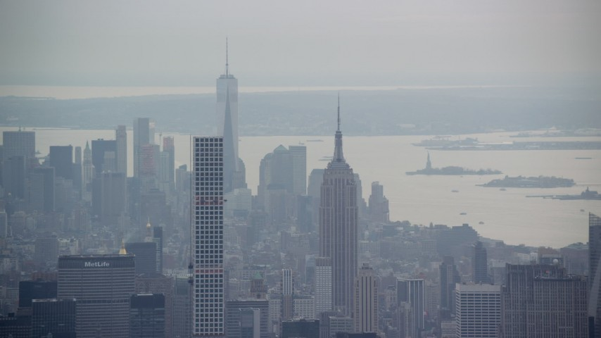 Empire State Building, Freedom Tower and 432 Park Avenue in New York City Aerial Stock Footage | AX120_226