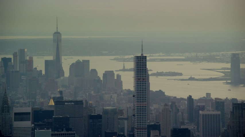 432 Park Ave, Empire State Building and Freedom Tower in New York City Aerial Stock Footage | AX120_227