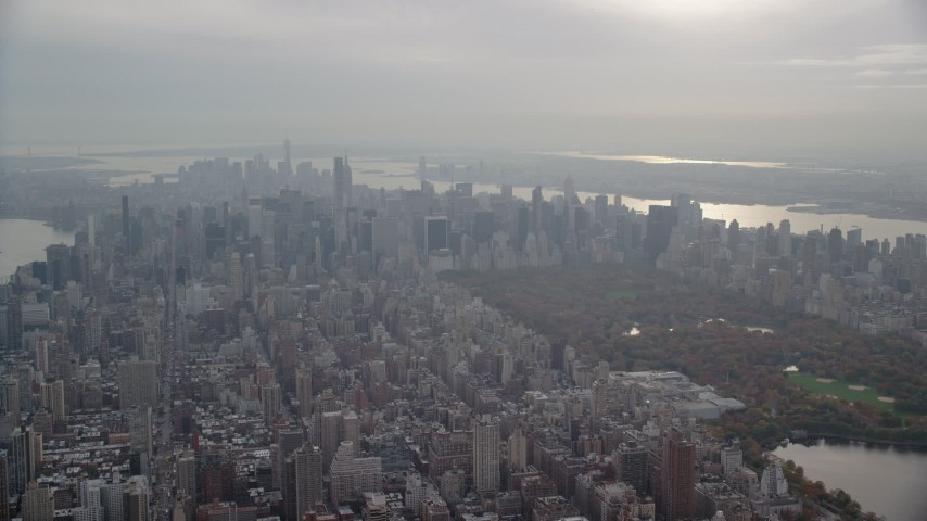 6K stock footage aerial video approach Midtown and Central Park from Upper East Side, New York City Aerial Stock Footage | AX120_229