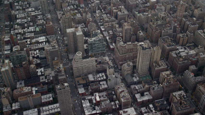 6K stock footage aerial video fly over apartment buildings and streets on Upper East Side, New York City Aerial Stock Footage | AX120_231