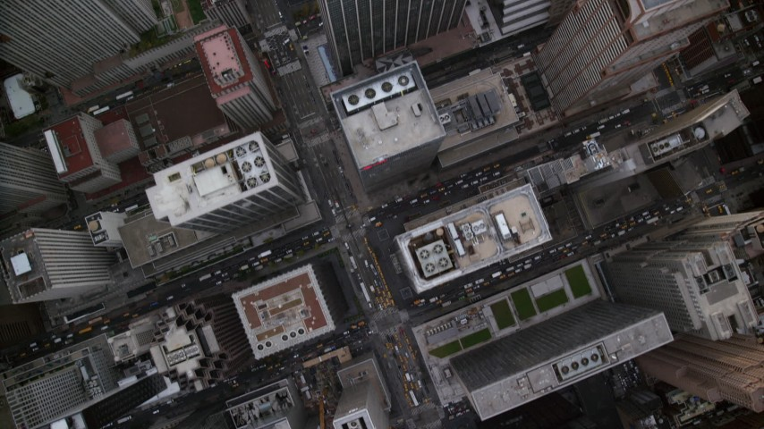 6K stock footage aerial video of a bird's eye of Midtown streets and high-rises, New York City Aerial Stock Footage | AX120_236