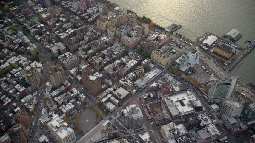 6K stock footage aerial video of office and apartment buildings in Greenwich Village in Autumn, New York City Aerial Stock Footage | AX120_241
