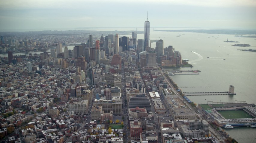 6K stock footage aerial video of Lower Manhattan seen from Tribeca, New York City Aerial Stock Footage | AX120_242