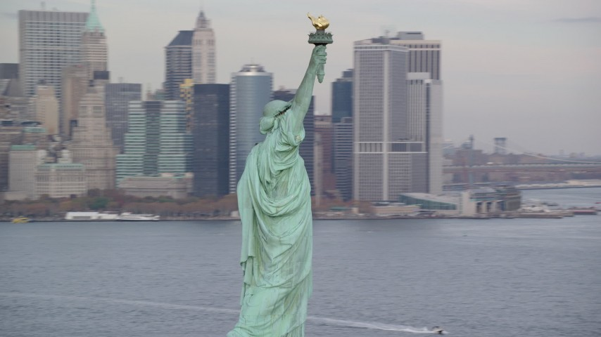 Orbit the Statue of Liberty in Autumn, New York Aerial Stock Footage | AX120_256
