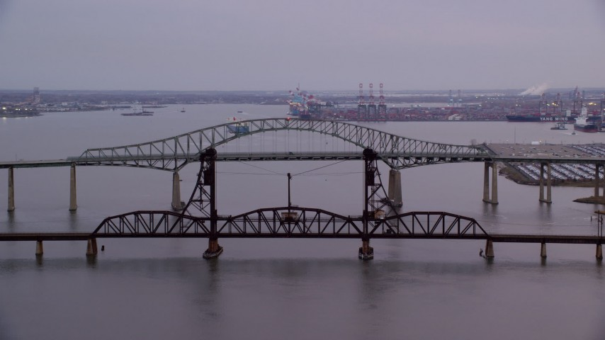 6K stock footage aerial video orbit two large bridges at twilight, Newark, New Jersey Aerial Stock Footage | AX121_006