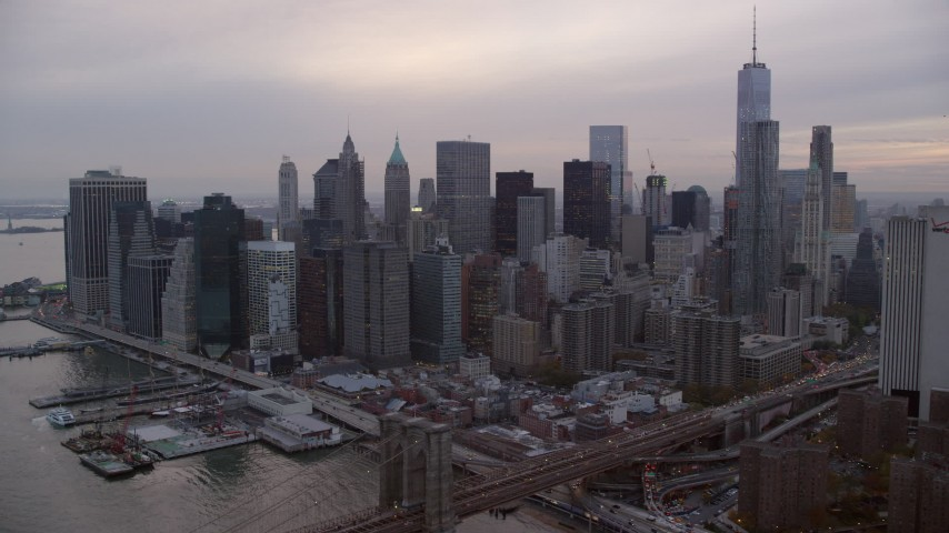 Lower Manhattan Skyscrapers at twilight in New York City Aerial Stock Footage | AX121_031