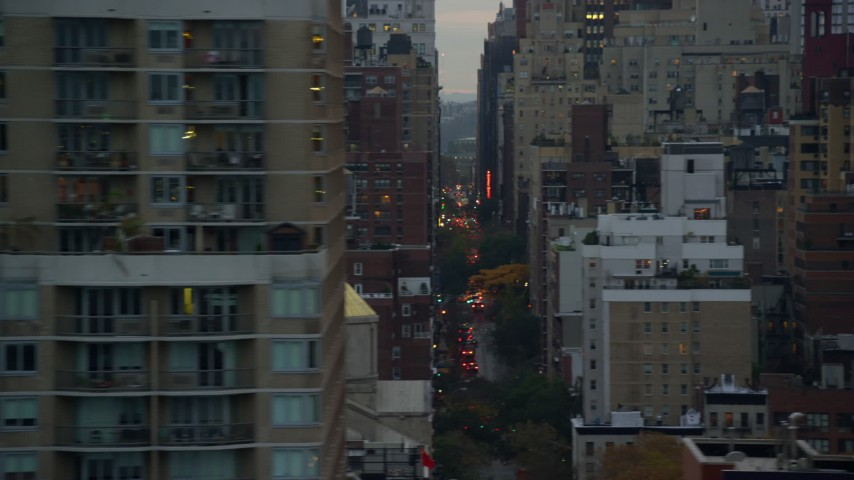 5.5K stock footage aerial video flyby city canyons in Midtown at twilight in New York City Aerial Stock Footage | AX121_071E