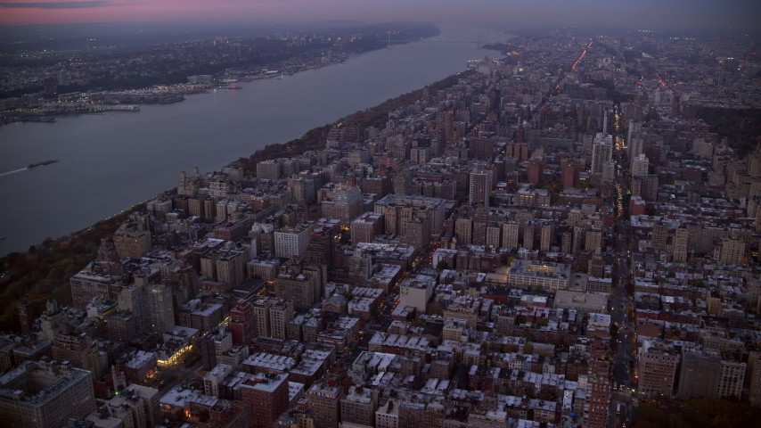 6K stock footage aerial video of apartment complexes on the Upper West Side at twilight in New York City Aerial Stock Footage | AX121_094