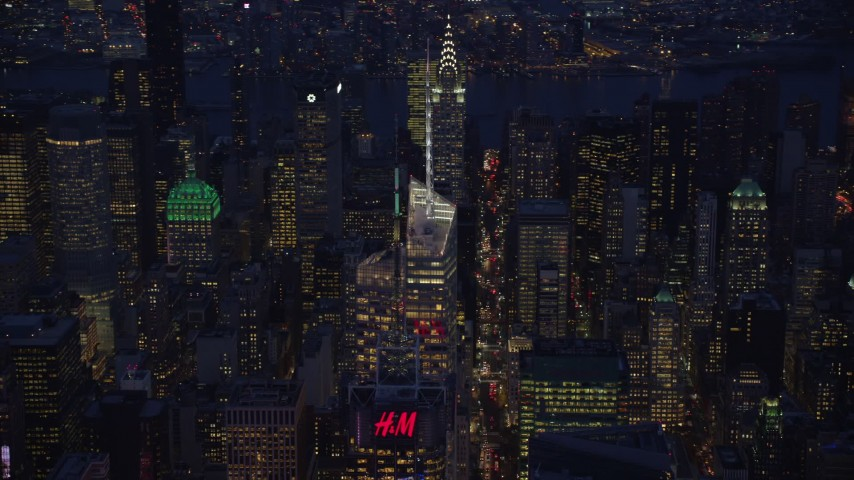Bank of America Tower in Midtown at Night in New York City Aerial Stock Footage | AX121_132