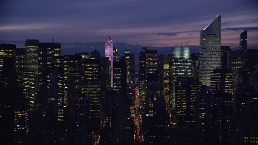 5.5K stock footage aerial video of 432 Park Avenue and Citigroup Center skyscrapers at Night in Midtown, New York City Aerial Stock Footage | AX121_148E