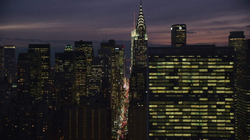Midtown City Canyons at Night in New York City Aerial Stock Footage | AX121_151