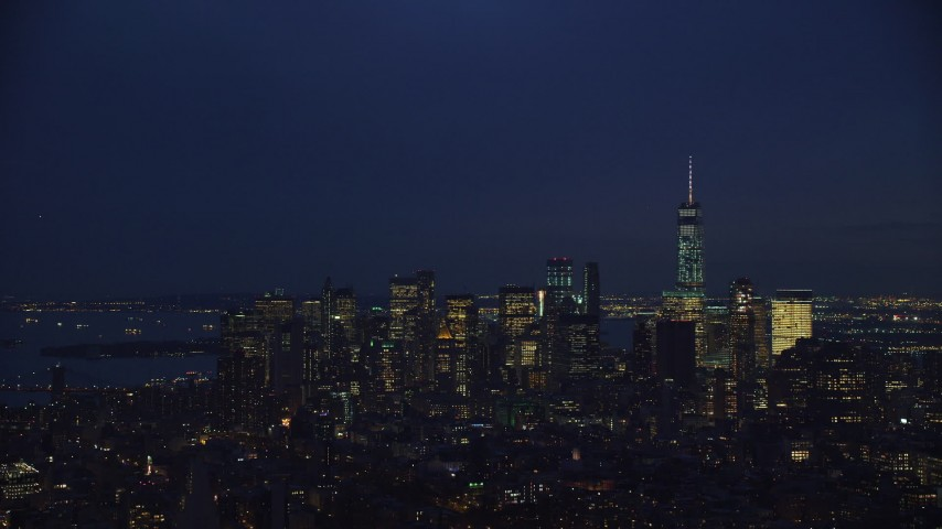 6K stock footage aerial video of approaching Lower Manhattan at Night in New York City Aerial Stock Footage | AX121_155