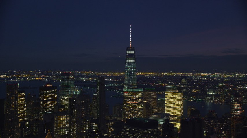 6K stock footage aerial video of Freedom Tower in Lower Manhattan, New York City at Night Aerial Stock Footage | AX121_159