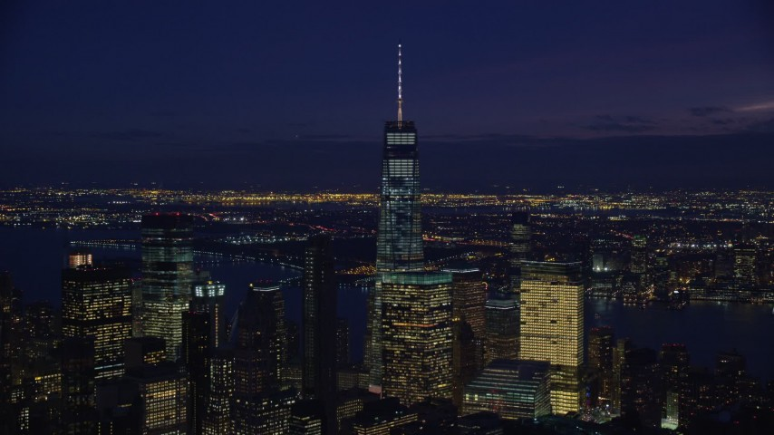 5.5K stock footage aerial video of Freedom Tower in Lower Manhattan, New York City at Night Aerial Stock Footage | AX121_159E